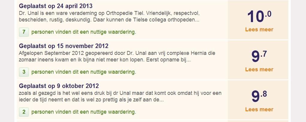 Dr. Ünal op ZorgkaartNederland.nl