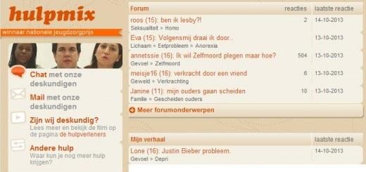 De homepage van Hulpmix.nl