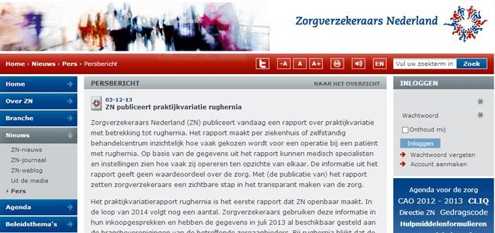 Zorgverzekeraars Nederland (ZN) publiceerde een rapport over praktijkvariatie met betrekking tot rughernia.