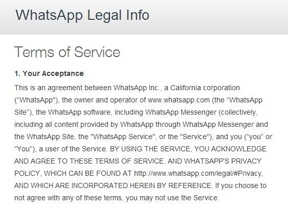 Terms of Service van WhatsApp, die we vrijwel nauwelijks doorlezen