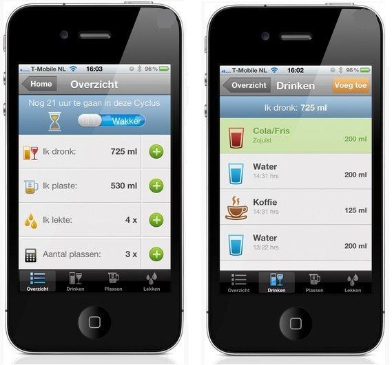 In de iP Plaslijst app wordt onder andere bijgehouden wat er gedronken wordt en hoe vaak men moet plassen