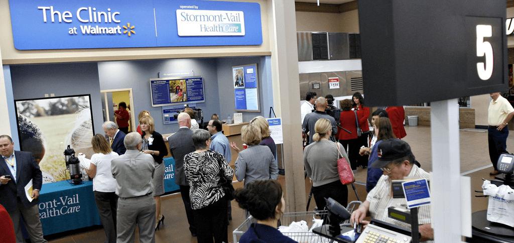 Microclinics zijn te vinden in vestigingen van Walmart, Amerika's grootste retail keten