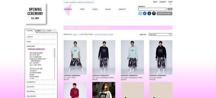 Webshop van het New Yorkse kledinglabel Opening Ceremony