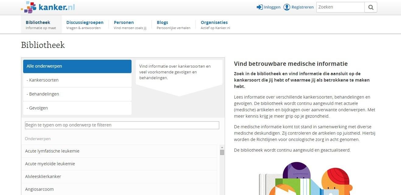 De bibliotheek van Kanker.nl