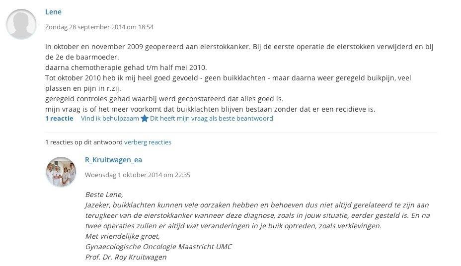Een gesprek tussen een patiënt en een zorgverlener op Kanker.nl