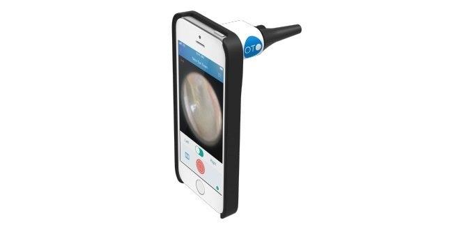 De Oto Home is een opzetstukje voor de iPhone om een filmpje in het oor te maken
