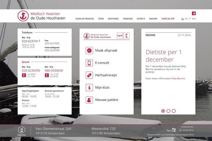 De oude webapp op de homepage van de oude huisartsenpraktijk