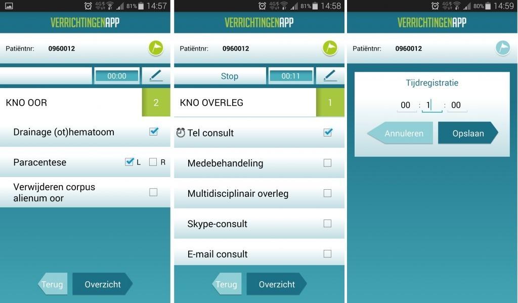 Screenshots van het invoeren van patiëntinformatie in de app