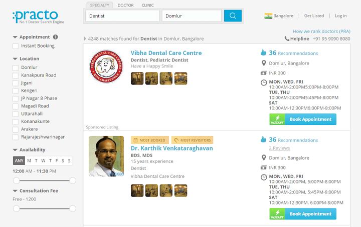 Via Practo Search kunnen gebruikers online op zoek naar de dichtstbijzijnde zorgverlener