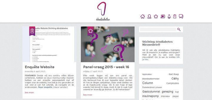 De homepage van Stichting eendiabetes