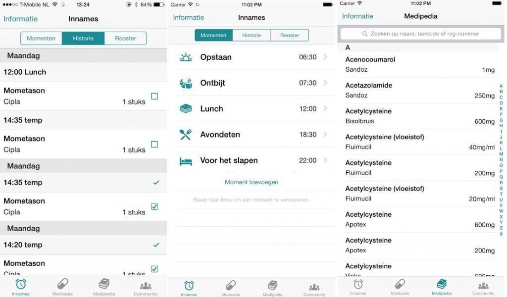 MedApp inname schema en informatie