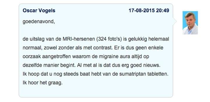 Voorbeeld van een online bespreking van een MRI uitslag in Doktr.nl