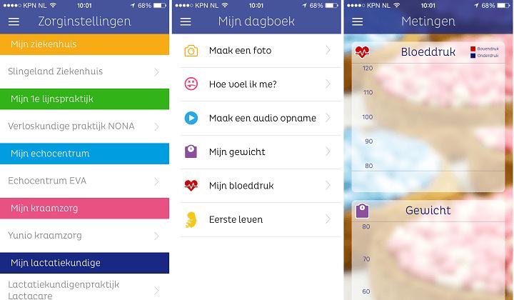 Zwangeren kunnen allerlei persoonlijke informatie in ZwApp bijhouden