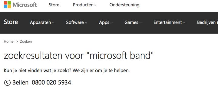 Geen spoor te bekennen van de Microsoft Band in de online winkel