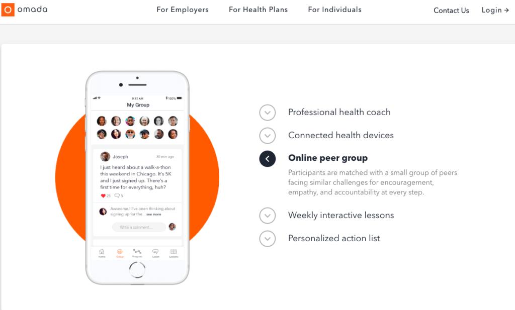 Omada Health biedt naast meetapparatuur voor thuis ook educatie en een online peer group