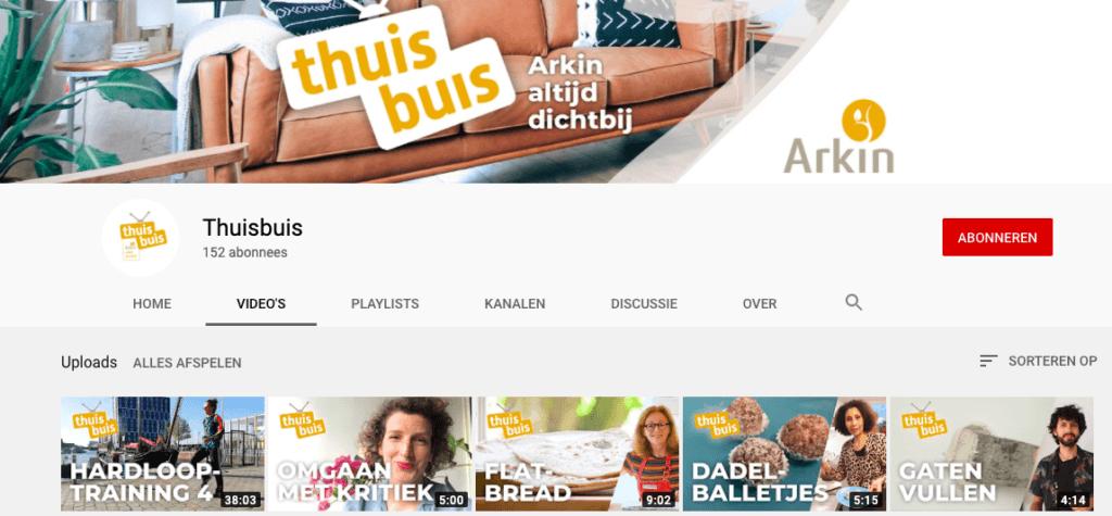 YouTube-kanaal Thuisbuis van ggz-aanbieder Arkin